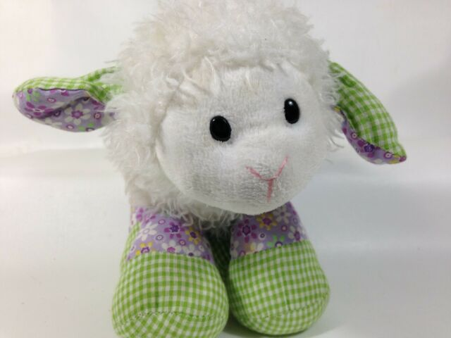 Ganz Nellie White Lamb Plush Purple Green Gingham Stuffed Animal Toy