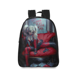 e05792e4e1b0 Details about Unisex Backpack Custom Harley Quinn Student Daypack School Bag
