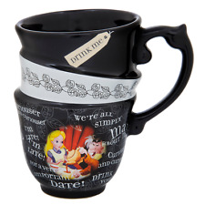 Disney World Parks Alice Wonderland Triple Stack Tea Cup Quotes Coffee Mug - NEW