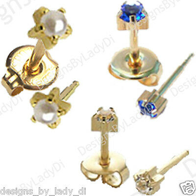 3 Pairs Of 4mm Gold Pronged Gem Ear Piercing Earrings Studs Hypoallergenic