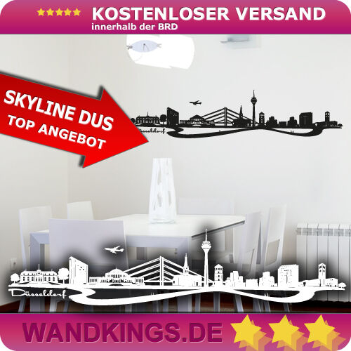 ▌ Wandkings ▐ Muro Tatuaggio Skyline Düsseldorf-Reno NRW [dimensioni & Coloreeee a scelta]