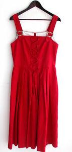 Damen-Trachten-Kleid-aermellos-Leinen-rot-Gr-38-v-Landhaus
