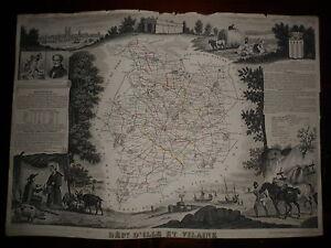 CARTE-GEOGRAPHIQUE-PUBLIE-PAR-COMBETTE-1845-DEPARTEMENT-D-039-ILLE-ET-VILAINE