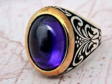 Turkish Ottoman Vintage Amethyst Gemstone Solid 925 Sterling Silver Men Ring