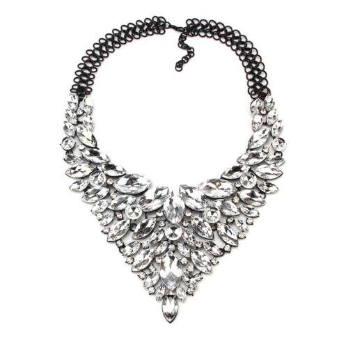 schwarz//kristallklar NEU Luxus Statement Kette,Collier Blogger XL Anhänger