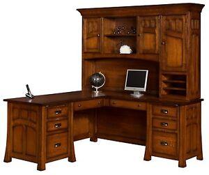 Image Is Loading Amish Mission Corner Computer Desk Hutch Bridgefort Office