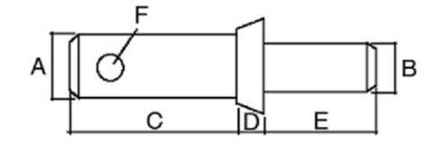 Gerätebolzen/_Kat.1//2/_Ø 28//22mm/_Unterlenkerbolzen zum Schweissen