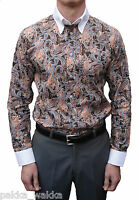 Art Gallery Clothing Brown Paisley Shirt Mods Scooter 60's Retro Soul Ska