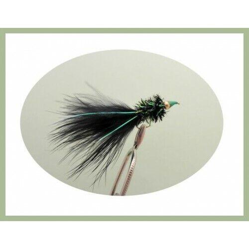 Trout Flies Fly Fishing Size 10 Black Orange /& White 12 Nomads Lures