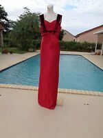 LUCA LUCA RED SILK VELVET DETAIL SLEEVELESS GOWN DRESS Sz 48 NWT MADE IN ITALY