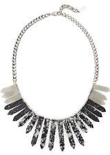 "Baublebar Black Marble RA Bib Necklace Silver Tone 18"" MSRP $62"