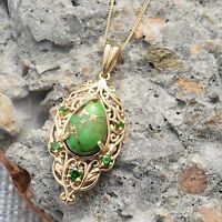 $150 Mojave Green Turquoise, Russian Diopside Pendant In 14k Yg Overlay J-2