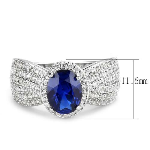 Ladies sapphire ring oval blue cz silver super sparkling rhodium 3 carat 1593