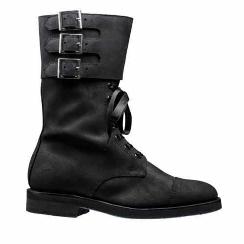 Women/'s Handmade Genuine Leather Marching Formal Triple Buckle Boots