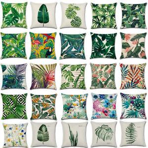 Tropical-Plant-Floral-Leaves-Cushion-Cover-Waist-Throw-Pillow-Case-Car-Home-Deco