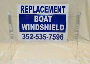 "low-pro 1//4/"" premium plexiglass Universal boat windshield 26/"" center console"