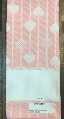 Zweigart Heart Towel 100/% Cotton 11 Count Cross Stitch 15 x 31 Eggshell  Peach
