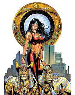 SEXY Chaos Comics EGYPTIAN GODDESS DEMONICA  LIONS  LIONESS STICKER/VINYL DECAL
