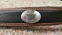 Dallas Cowboys Leather Mens Two Tone Belt Brown & Black With Conchos Size 32-46