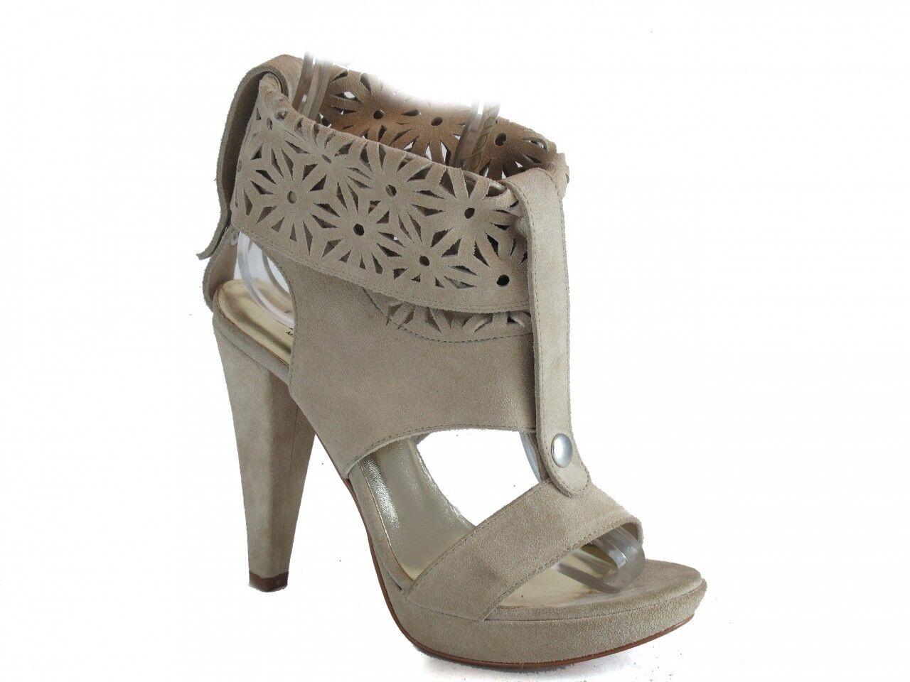 Sandalias De Cuero Italiano Para Mujer de Tacón Alto Beige 3781