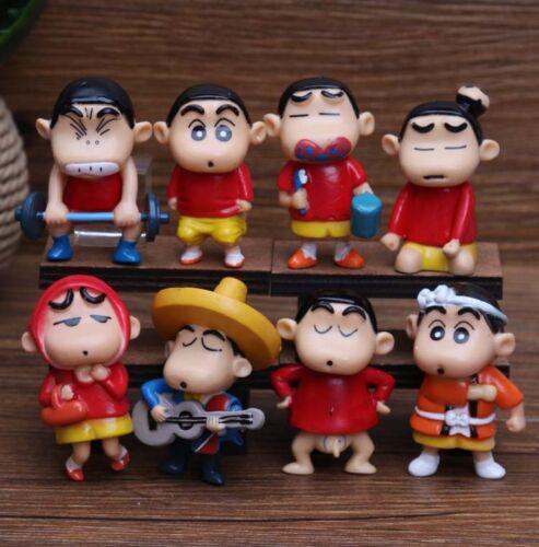 Crayon Shin-chan red dress anime figure figures Set of 8pcs doll Y354 Collect ne