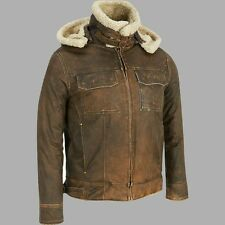 Mens Aviator B3 Shearling Fur Winter Vintage Bomber Hood Real Leather Jacket