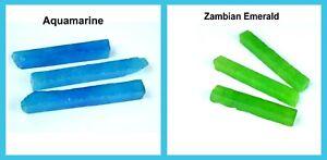 360 Ct 6 Pcs Natural Zambian Emerald & Aquamarine Gemstone Slice Rough Lot