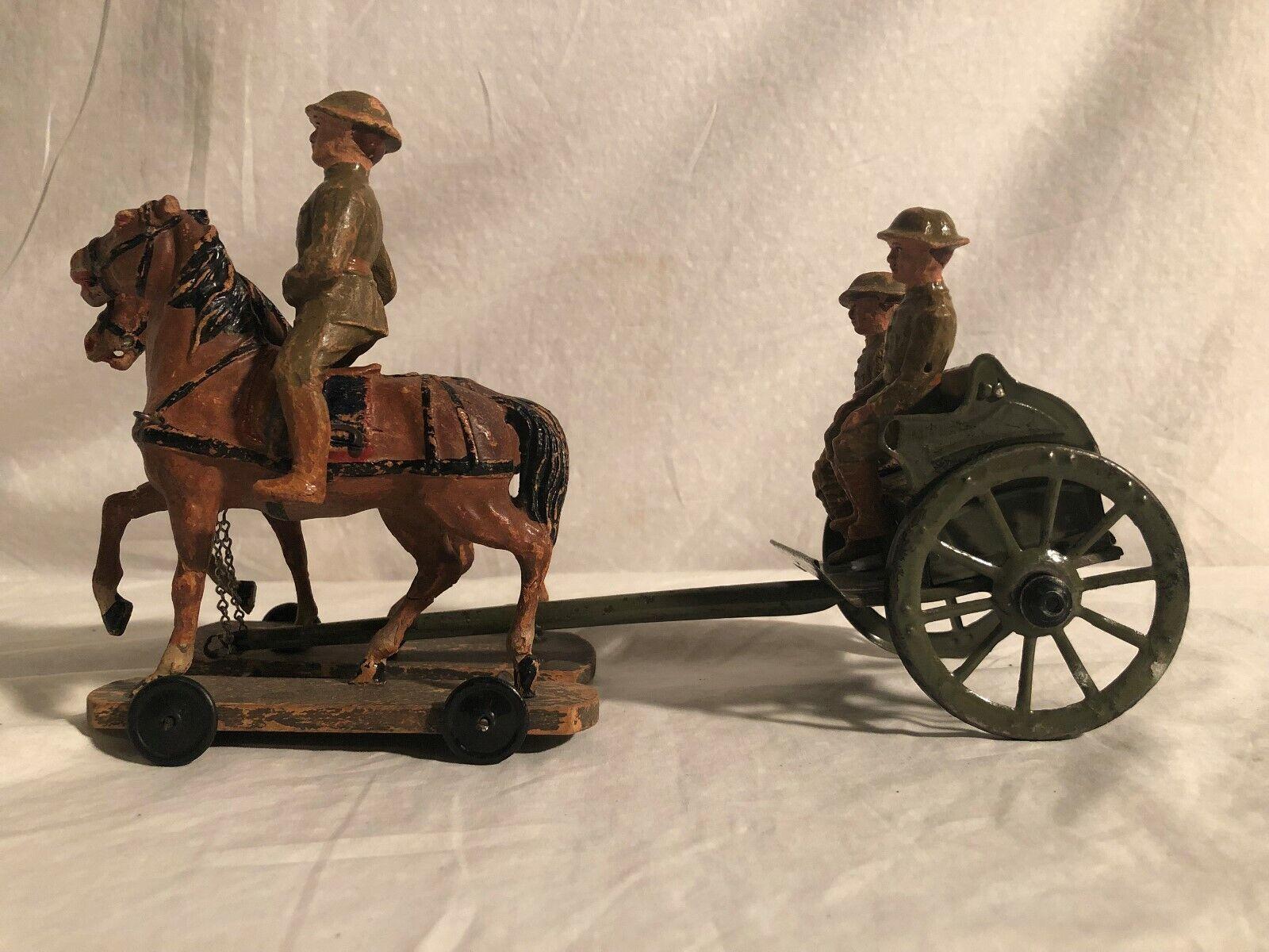 Elastolin Hausser Gran Tamaño 10cm Soldado Muchos Horse Caisson Alemania Pre War