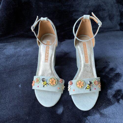 Rampage Denim Block Heel Sandals, Size 6