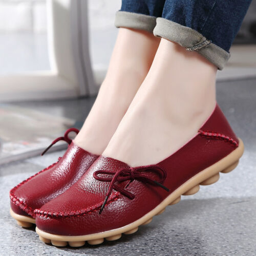 Women/'s Plus size Genuine Leather Loafers Casual Shoes Flat Slip-On Slippers