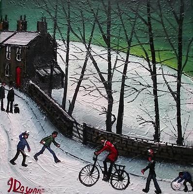 Snowball Ambush  : Original BEST Oil Painting from Famous Artist James Downie