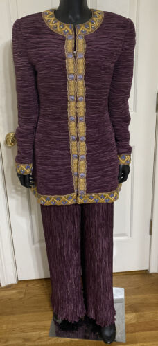 Vintage Mary McFadden Couture Pleated Purple 2-Pie