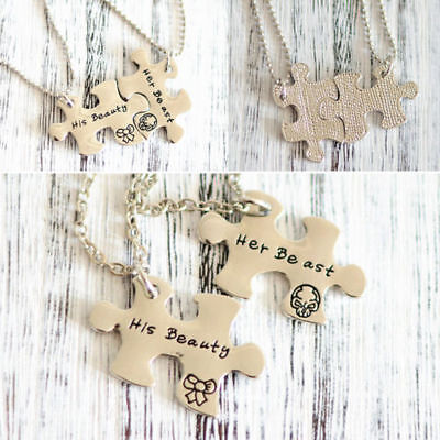 """2pcs """"His Beauty"""" & """"Her Beast"""" Couples Puzzle Piece Necklace Set Jigsaw the BFF"""