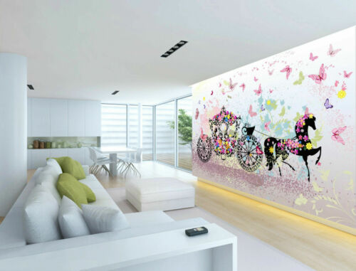 Vintage Floral Carriage Girl/'s Bedroom Sofa Background Wallpaper Painting Mural
