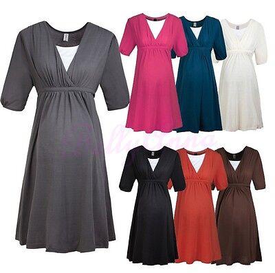 Comfortable Pregnant Women Summer High Wasit Maternity Breastfeeding Dress B