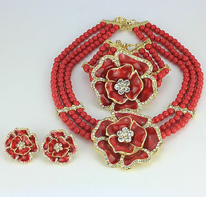 Elegant-3-layers-Beads-with-flower-Necklace-Earring-bracelet-Jewelry-Set