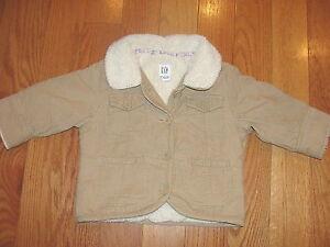 Baby Gap Girls Toddler 12 18 Month Tan Corduroy Sherpa Lined Coat