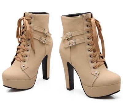 Damen Schuhe Plattform Stiefelette Pumps schnüren Motor High
