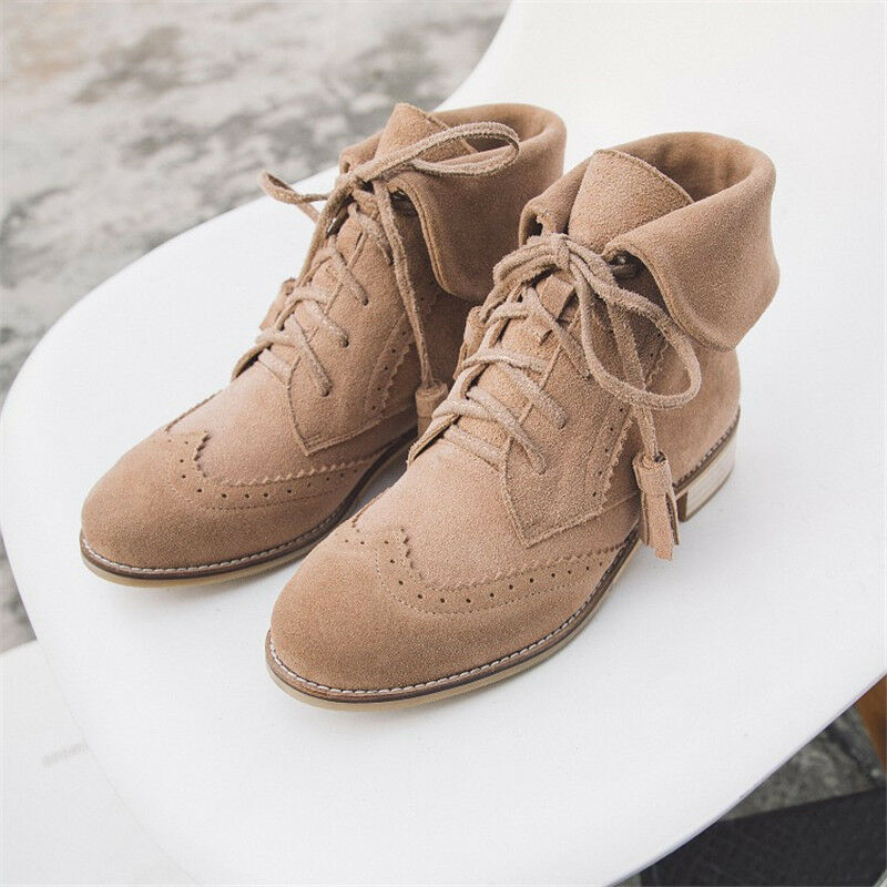 Women's Suede Ankle Boots Brogues Style Chunky Heel Round Toe Booties Lace up