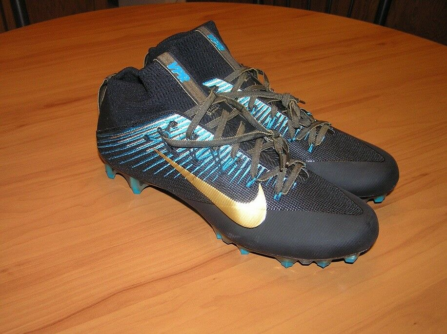 Nike Vapor Untouchable 2 Black/Turquoise Football Cleats 835646 015 size 11.5