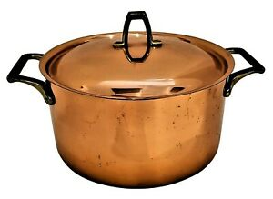 VINTAGE~Paul REVERE COPPER Brass Stainless~3 Qt POT with Lid~1801