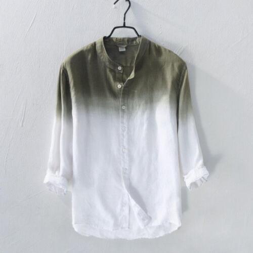 Mens Pure Linen Shirts 3//4 Sleeve Gradient Color Stand Collar Dress Shirt Hot
