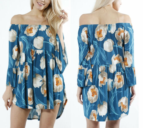 USA MADE STRETCHY FLORAL OFF SHOULDER FLOWY WOMENS TUNIC TOP BLOUSE SHIRT DRESS