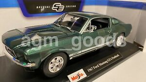 1-18-Maisto-escala-1967-Ford-Mustang-Fastback-Verde-Juguete-Diecast-Modelo-de-Coche