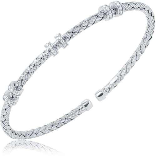 "/""Positano/"" Charles Garnier 3mm Sterling Silver CZ Cuff Bracelet"