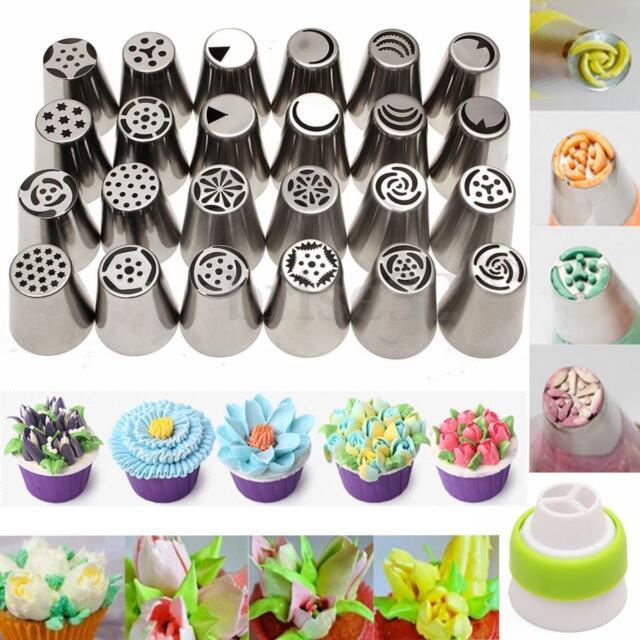 24Pcs Russian Icing Piping Nozzles Tips Cake Decorating Sugarcraft Pastry Tool