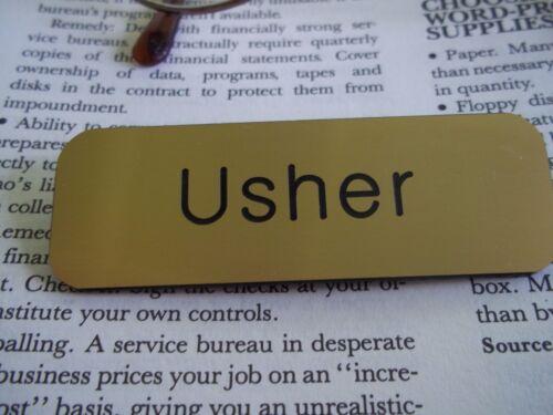 10 Gold Engraved Usher Name Tags Church Organization Badges Pin Back Fastener