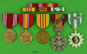 5-U-S-ARMY-VIETNAM-MEDALS-amp-RIBBON-BAR-Good-Conduct-Gallantry-Cross-VCM-T1