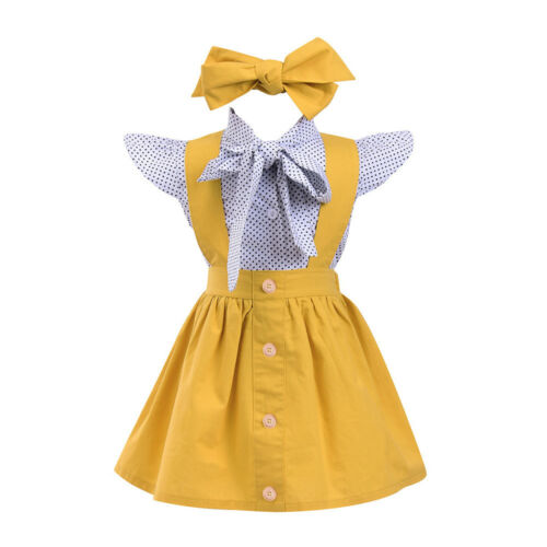 Cute 3Pc Toddler Infant Baby Girls Dot Print Tops T Shirt+Strap Skirt Outfit Set