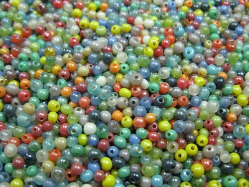 10g Glasperlen Mix bunt 2mm Perlen neu 9622
